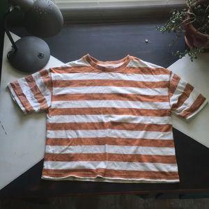 UO Boston Oversized Striped Washed-Dye Tee
